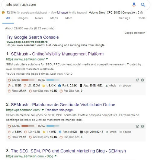 google search indexing date for steal competitors keyword
