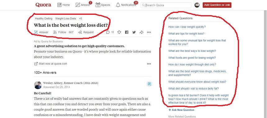 how to do find more keyword with quora