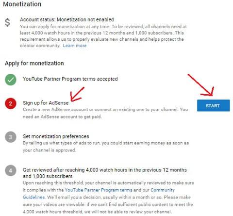step 6: linking adsense account on youtube