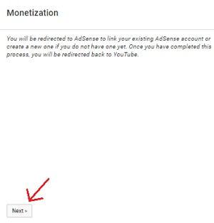 step 7 linking adsense account on youtube