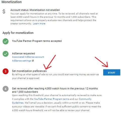 step 8 set monetization preferences