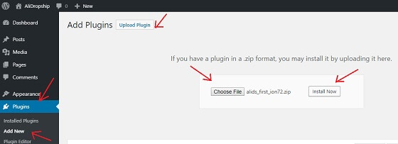 upload alidropship plugin file