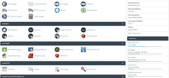 web hosting dashboard