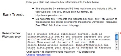 resource box of top article submission sites